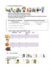 English worksheet: like, love, hate + Ving and free-time activities