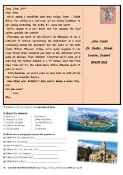 English Worksheet: Visiting Cape Town � South Africa - Postcard