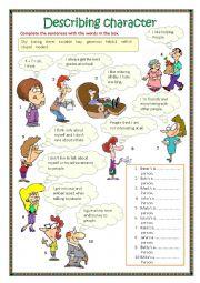English Worksheet: Describing character 1