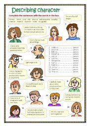 English Worksheet: Describing character 3