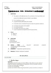 English Worksheet: Lesson 10: Child Labour