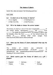 English Worksheet: Statue of Liberty