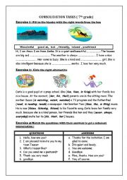 English Worksheet: consolidation tasks ( 7th grade)