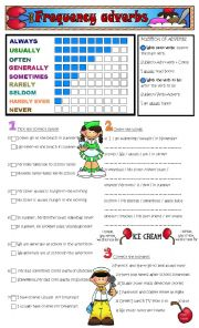 English Worksheet: adverbs of frequency -2 pages