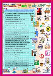 English Worksheets: REPHRASING: FOR- SINCE- AGO- JUST- ALREADY- YET