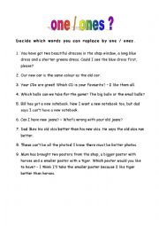 English Worksheet: one - ones