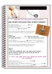 English Worksheet: Wrecking ball by Miley Cyrus