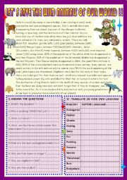English Worksheet:  Lets� save the animals of our world:Reading