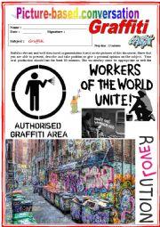English Worksheet: Picture based conversation. Graffiti. (Debating) 32/�