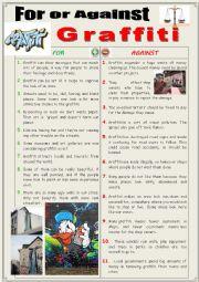 English Worksheet: For or Against Graffiti (Debating)