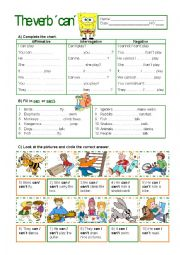 English Worksheet: The verb �Can