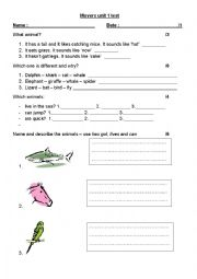 English Worksheet: MOVERS test Unit 1 and 2