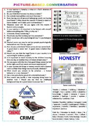 English Worksheet: Picture-based conversation : topic 81 : Honesty vs Crime