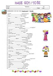 English Worksheet: VERBS HAVE GOT AND TO BE