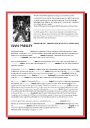 English Worksheet: Elvis Presley reading and song gap fill exercise