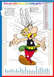 English Worksheet: Asterix�s body parts.  (Plural)