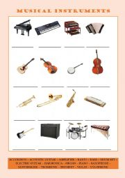 English Worksheet: Musical Instruments (Vocabulary Series 4)