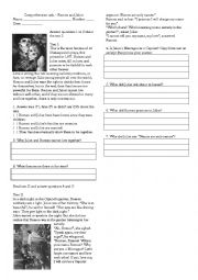 English Worksheet: Romeo and Juliet - comprehension