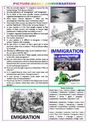 English Worksheet: Picture-based conversation - Topic 82 : immigration vs emigration.