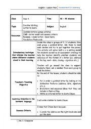 English Worksheet: lesson plan Letter to Santa