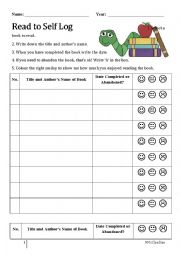 English Worksheet: Read to Self Reading Log