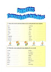 English Worksheet: Phonetic symbols - single word and text transcription activities