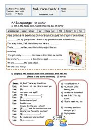 English Worksheet: Mid-Term Test N�1