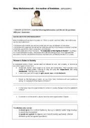English Worksheet: Mary Wollstonecraft -