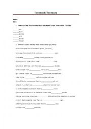 English Worksheet: Too much - Too many (Count and Noncount nouns)
