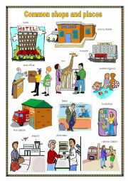 English Worksheet: Common shops and places 1.