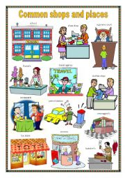 English Worksheet: Common shops and places 2.