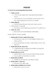 English Worksheet: Prefer / Would rather