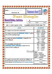 English Worksheet:  regular verbs spelling rules