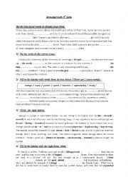 English Worksheet: Remedial work 9th form 1st term ( part 4)