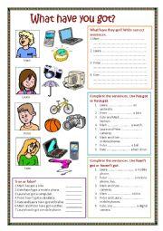 English Worksheet: Have got / Has got.