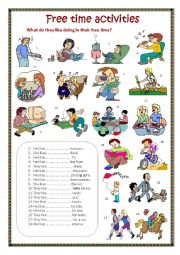 English Worksheet: Free time activities.