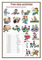 English Worksheet: Free time activities.