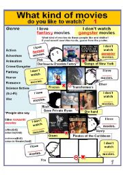 Movie Genres 1) *What kind of movies do you like to watch? * I love horror movies./I don´t watch sci-fi movies