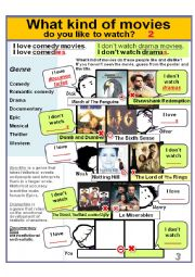 Movie Genres 2) *What kind of movies do you like to watch? * I love comedies. /I don´t watch dramas.