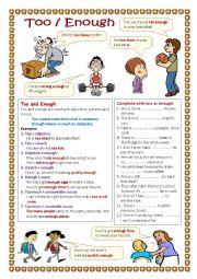 English Worksheet: Too / Enough