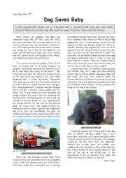 English Worksheet: Dog saves Baby