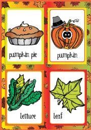 English Worksheet: Thanksgiving FLASHCARDS 2 - 2