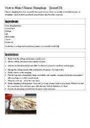 English Worksheet: How to make Chinese dumplings
