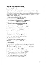 English Worksheet: FCE Use of English Sentence Transformation