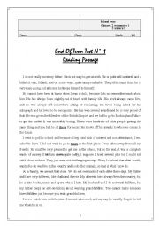 English Worksheet: End of term 1 for 2nd year Eco and  Science