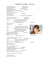 English Worksheet: celine dion because you loved me