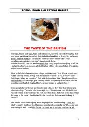 English Worksheet: THE TASTE OF THE BRITISH