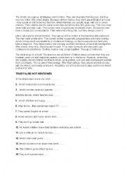 English Worksheet: The Amish 2