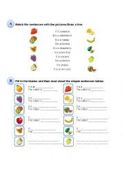 English Worksheet: Fruits and Colours