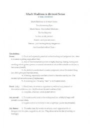 English Worksheet: analysis poem by E. Dickinson : Much Madness Is Divinest Sense